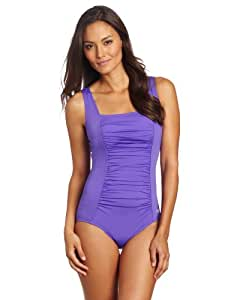 Speedo Women's Endurance+ Shirred Tank One Piece Swimsuit, Ultraviolet, 6