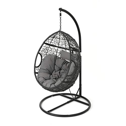 GDF Studio Leasa Outdoor Black Wicker Hanging Basket Chair with Grey Water Resistant Cushions and Black Iron Base