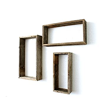 BarnwoodUSA Reclaimed Wood Rectangle Shelves, Set of 3, 14 by 6 Inch, 16 by 8 Inch, 18 by 10 Inch