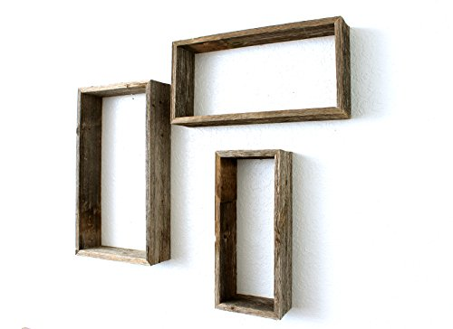 BarnwoodUSA Rustic Open Rectangle Shelves, Set of 3 - 100% R