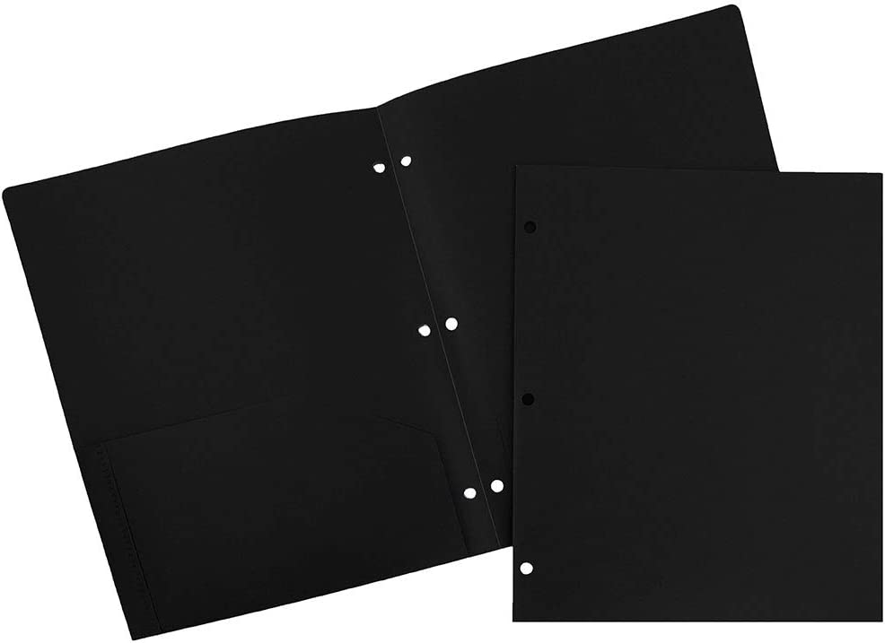 JAM PAPER Heavy Duty Plastic 3 Hole Punch School Folders with Pockets - Black - 6/Pack