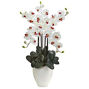 Nearly Natural Giant Phalaenopsis Orchid Silk Arrangement White 98