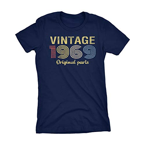 50th Birthday Gift Womens T-Shirt - Retro Birthday - Vintage 1969-001-Navy-Md