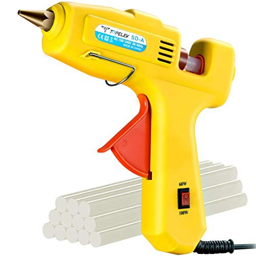 Hot Glue Gun, TopElek 60W/100W Dual Power Full Size (Not Mini) Glue Gun with 12PCS Glue Sticks, High Temperature Melt Glue Gun Kit, for DIY, Crafts, Arts, Home Quick Repairs, Festival Decoration