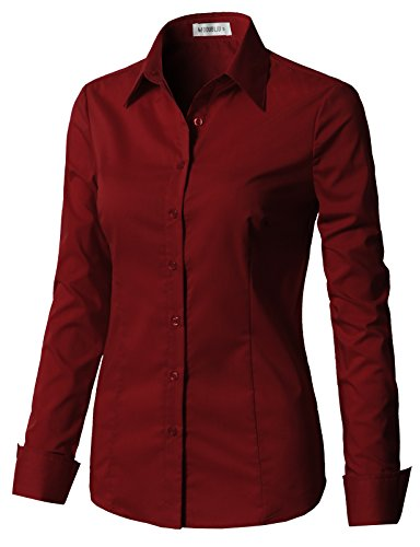 CLOVERY Women's Tailored Long Sleeve Basic Simple Button-Down Shirt Burgundy M