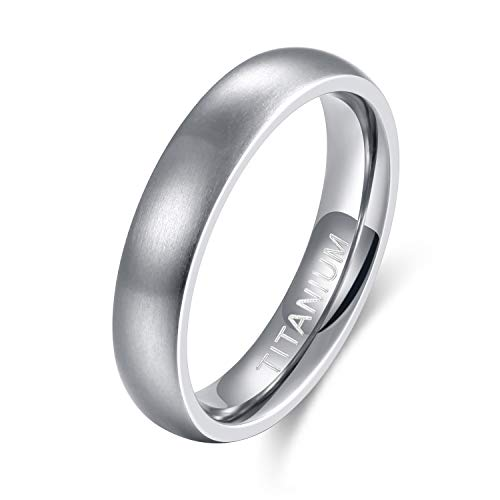 TIGRADE 6mm/8mm Men's Titanium Ring Brushed Dome Wedding Band Comfort Fit Size 4-14 (4mm, 10)