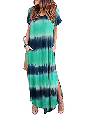 HUSKARY Women's Casual Pocket Beach Long Dress Short Sleeve Split Loose Maxi Dress