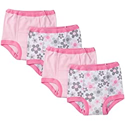 Gerber Toddler Girls' 4 Pack Training Pants, Pink Flower, 3T