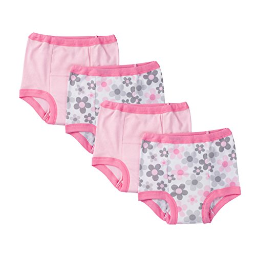 Toddler Training Pants - Gerber Toddler Girls' 4 Pack Training Pants, Pink Flower, 3T