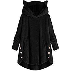 CGKUITER - Sudadera de Forro Polar con Capucha para Mujer, diseño de Gato, Negro, L