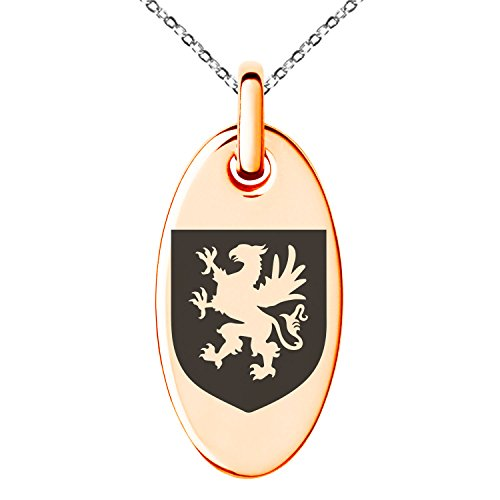 Tioneer Rose Gold Plated Stainless Steel Griffin Valor Coat of Arms Shield Symbol Engraved Small Oval Charm Pendant Necklace by Tioneer