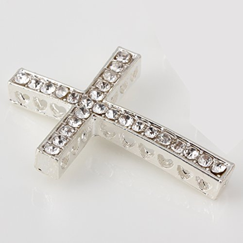 RUBYCA 10pcs Cross Sideway Metal Connector Bead DIY Shamballa Bracelet White Silver Color White Clear Crystal Inlay