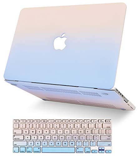 """KECC Laptop Case for MacBook Air 13"""" Retina (2020/2019/2018, Touch ID) w/Keyboard Cover Plastic Hard Shell Case A1932 2 in 1 Bundle (Pale Pink Serenity Blue)"""