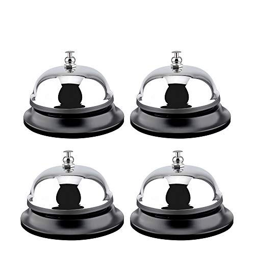 MROCO 4 Count Big Call Bells, 3.38 Inch Diameter, Chrome Finish, All-Metal Construction, Desk Bell Service Bell for Hotels, Schools, Restaurants, Reception Areas, Hospitals, Warehouses(Silver)