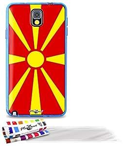 """Carcasa Flexible Ultra-Slim SAMSUNG N9000 de exclusivo motivo [Macedonia Bandera] [Azul] de MUZZANO  + 3 Pelliculas de Pantalla """"UltraClear"""" + ESTILETE y PAÑO MUZZANO REGALADOS - La Protección Antigolpes ULTIMA, ELEGANTE Y DURADERA para su SAMSUNG N9000"""