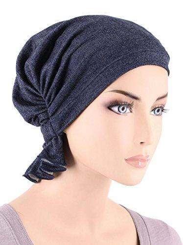 (Abbey Cap Womens Chemo Hat Beanie Scarf Turban Headwear For Cancer Cotton Dark Denim)