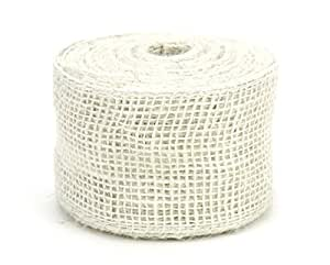 Kel-Toy Burlap Ribbon with Woven Wired Edge, 2.5 x 10 yd, Off White