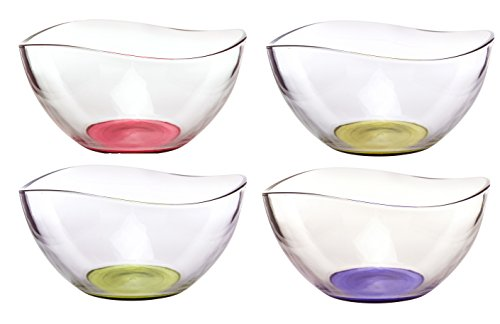 Mini Colored Glass Wavy Serving/Prep Bowls, 10 1/2 Ounce - Set of 4 (Salad Dessert Fruit Bowl)