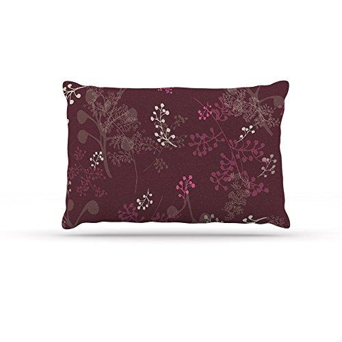 Kess InHouse Laurie Baars Ferns Vines Bordeaux  Fleece Dog Bed, 50 by 60 , Maroon Floral