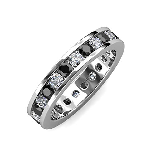 (TriJewels Black and White Diamond Channel Set Eternity Band 1.95 ctw to 2.36 ctw 14K White Gold.size 6.0)
