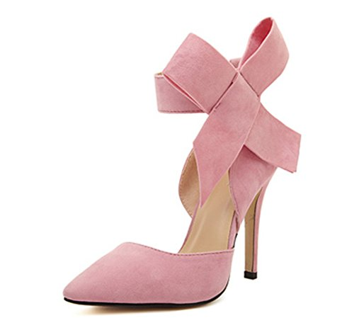 (Z&L Women's Pointy Toe Suede High Heel Stiletto Pumps with Big Bowknot Pink US)