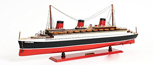 (Ss Normandie French Ocean Liner Wooden Model Cruise Ship 32