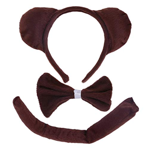 VIccoo Hair Hoop, Child Adult Animal Costume Sets Round Monkey Ears Headband Bow Ties Long Tail Halloween Birthday Party Favors Cosplay -