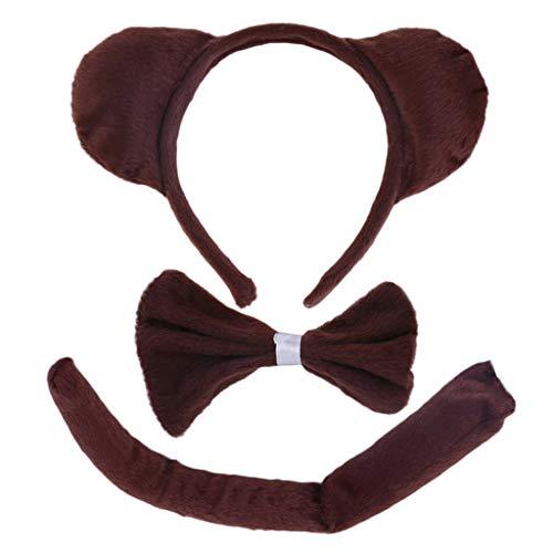 VIccoo Hair Hoop, Child Adult Animal Costume Sets Round Monkey Ears Headband Bow Ties Long Tail Halloween Birthday Party Favors Cosplay Kit