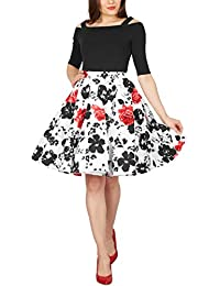 Black Butterfly Vintage Full Circle 1950's Floral Skirt