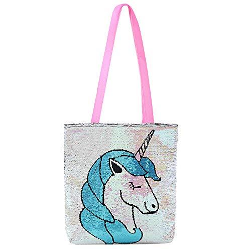 WATOP Stuffed Animals - Unicorn | Dropshipping Plush Cartoon Unicorn Flamingo Pattern Single-Shoulder Bag for Kids School Bag(Blue-38x38cm) -