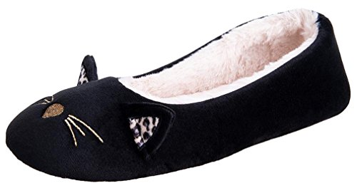 Festooning Women's House Ballerina Slippers Cozy Warm Soft Plush Lining Slip-on Hard Rubber Sole Flats Indoor Outdoor Ballet Shoes BM by Festooning