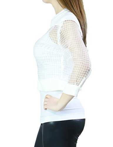 Women's Junior Fits Light Weight See Through Casual Zippered Jackets (LARGE, WHITE-T15924)