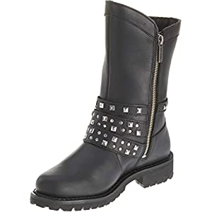 Harley-Davidson Womens Adrian Black Leather Mid Cut Boot (11)