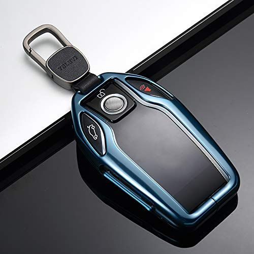 ontto for BMW Display Key Cover Metal Key Fob Case Skin Holder Shell with Keychain Prevent Dust and Scratches Fit for BMW 7 5 Series 2018 2019 Light Blue