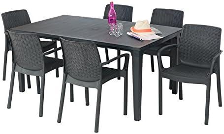 Allibert - Salón de jardín: mesa de grafito + 6 sillones antracita: Amazon.es: Jardín
