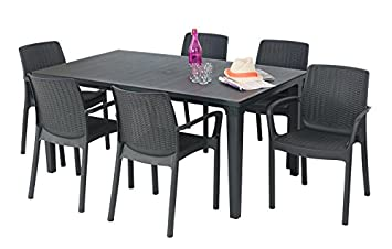 ALLIBERT Salon de jardin: table graphite + 6 fauteuils anthracite ...