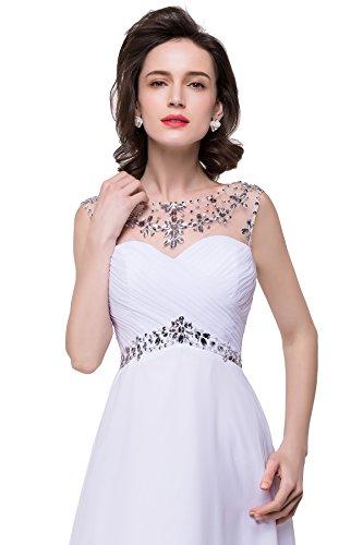 Weiß Damen mit Brautjungfern Abendkleid Bodenlang Rückenfrei Mehrfarbig Ärmel Misshow Ohne Strass vdT5xnq
