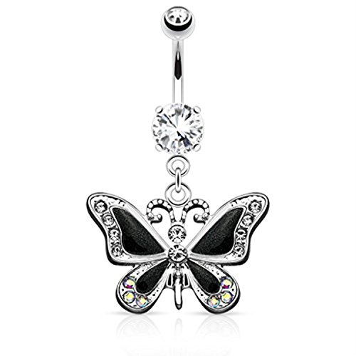 Butterfly Ring Belly Black (BodyJ4You Fancy Black Butterfly Dangle Belly Ring 14G)