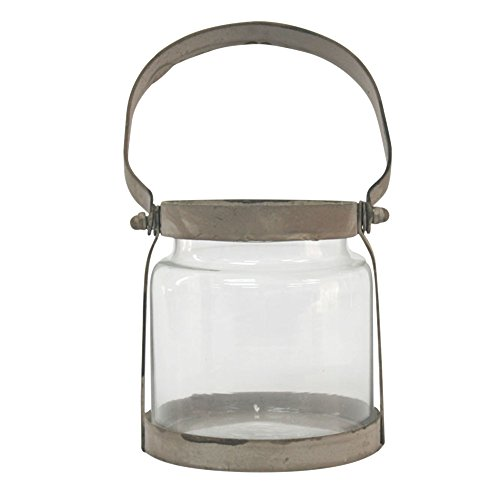 Stonebriar Small Antique Zinc and Glass Candle Lantern with Metal Handle, Industrial and Farmhouse Decor Accessories for Centerpiece, Mantel Decoration, or Patio Decor - Collection Small Hanging Lantern