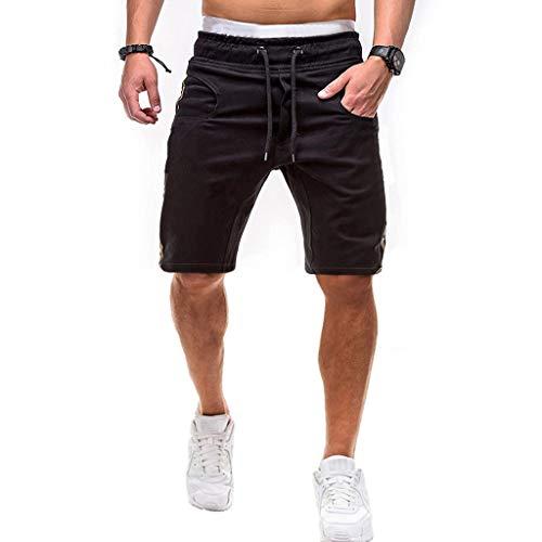 ✦◆HebeTop✦◆ Men's Cotton Casual Shorts 3/4 Jogger Capri Pants Breathable Below Knee Short Pants with Pockets Black