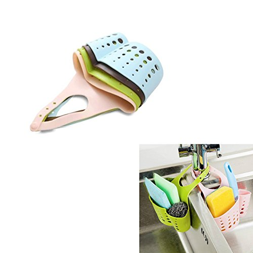 Vivian Kitchen Bathroom Sponge Soap Water Draining Hanging Holder Organizer Basket Pack of 2 PCS