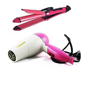 New Nova Combo of Hair Dryer and Hair Straightener for Women (MultiColor)
