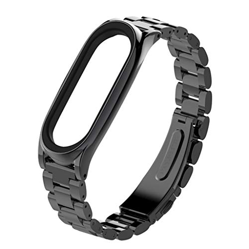 Price comparison product image Luxury Stainless Steel Bracelet Replacement Watch Band Strap For Xiaomi Mi Band 3 (Black)