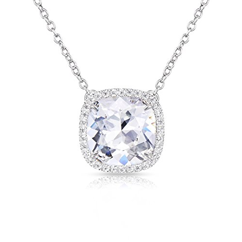 Alantyer Birthstone Necklace Made with Square Swarovski Crystal for Women and Girls,Simulated Diamond (April Birthstone) ()