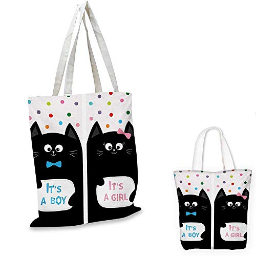 Gender Reveal ultralight shopping bag Its A Boy Cards with Cats Little Baby Cute Kitty Polka Dots Funny Print pocketable shopping bag Multicolor. 12
