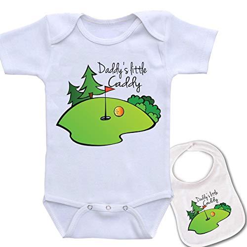 Igloo Daddy's Little Caddy (Golf) Cute Boutique Baby Bodysuit Onesie & Matching bib White