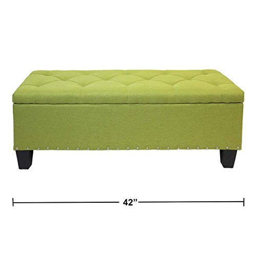 Magshion Rectangular Storage Ottoman Bench Tufted Footrest Lift Top Pouffe Ottoman, Coffee Table, Seat, Foot Rest, and more (42'', Linen Olive) by Magshion (Image #1)'