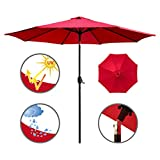 ABBLE Outdoor Patio Umbrella 9 Ft with Tilt and Crank, Weather Resistant, UV Protective Umbrella, Durable, 6 Sturdy Steel Ribs, Market Outdoor Table Umbrella, Red