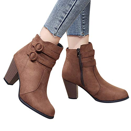 Outtop(TM) Women Thick Heel Martain Boots Ladies Belt Buckle Knight Short Ankle Booties Shoes (US:6, Brown)