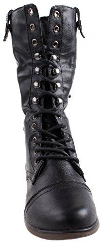Voor Altijd Dames Legend-9 Vouwas Enkellaarzen Met Volledige Rits Aan De Achterkant En Camouflage Design In Zwart